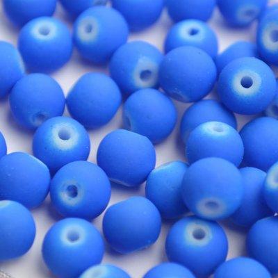 Blauw Glaskraal mat Hollands blauw 6mm - 50st