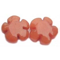 Oranje Kraal bloem jade oranje bruin 15mm