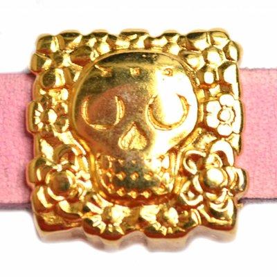 Goud Leerschuiver skull Ø10x2.5 Goud DQ 17mm