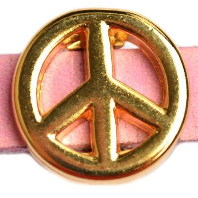 Goud Leerschuiver peace Ø10x2.5 Goud DQ 17mm