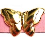 Goud Leerschuiver vlinder Ø10x2.5 Goud DQ 22x15mm