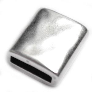 Zilver Leerschuiver rechthoek Ø13x2.5 Zilver DQ 19x16mm