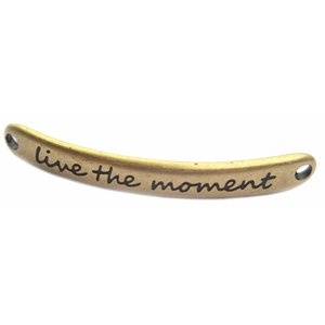 Antiek Goud Brons Tussenzetsel 'live the moment' Brons DQ 43x5mm