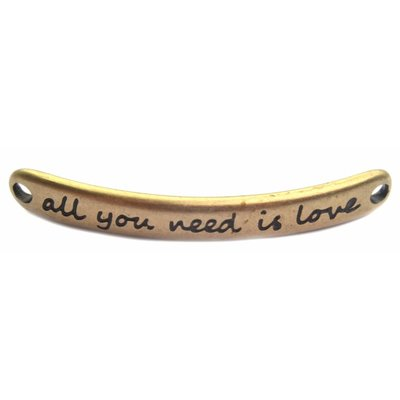 Antiek Goud Brons Tussenzetsel 'All you need is love' Brons DQ 43x5mm