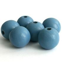 Blauw Houten kralen licht grijs blauw 8mm - 25st