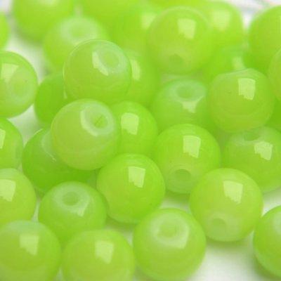 Groen Glaskraal opaal lime groen 6mm - 50st