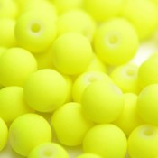 Geel Glaskraal mat fluor geel 6mm - 50st