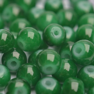 Groen Glaskraal opaal donker groen 6mm - 50st