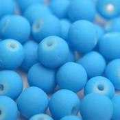 Blauw Glaskraal mat aqua blauw 6mm - 50st