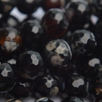 Zwart Agaat facet kraal rond zwart 12mm