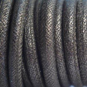 Bruin Stitched leer PQ bruin goud metallic 6mm - per cm