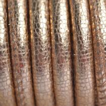 Rosegoud Stitched leer PQ vintage rosegold metallic 6mm - per cm