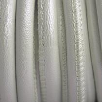 Wit Stitched leer PQ ivoor wit metallic 6mm - per cm