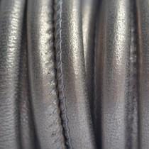 Grijs Stitched leer PQ grijs goud metallic 6mm - per cm