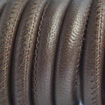 Bruin Stitched leer PQ taupe bruin metallic 6mm - per cm