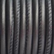 Grijs Stitched leer PQ donker grijs metallic 4mm - per cm