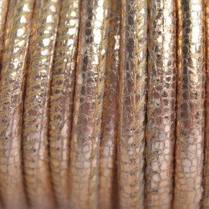 Rosegoud Stitched leer PQ vintage rosegoud metallic 4mm - per cm