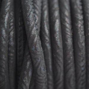 Zwart Stitched leer PQ zwart blauw metallic 4mm - per cm