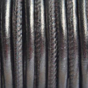 Groen Stitched leer PQ grijs groen metallic 4mm - per cm