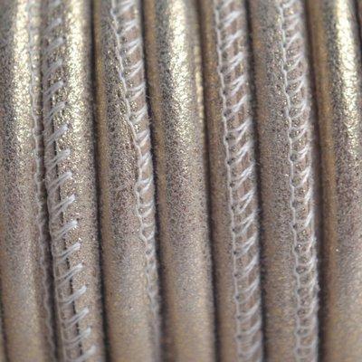 Goud Stitched leer PQ vintage goud metallic 4mm - per cm