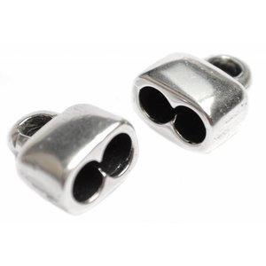 Zilver Eindkap 2x Ø5mm Zilver DQ 13x15mm