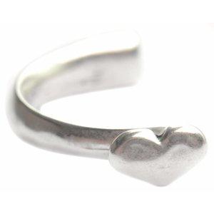Zilver Halve armband hart Ø8x4mm Zilver DQ