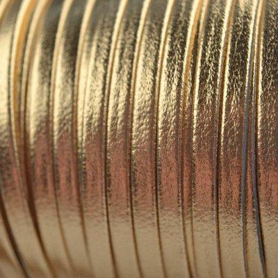 Bruin Leer plat nappa goud 3mm - prijs per 10cm