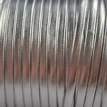 Grijs Leer plat nappa zilver 3mm - prijs per 10cm