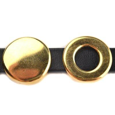 Goud Leerschuiver rond Ø10x2.5mm Goud DQ