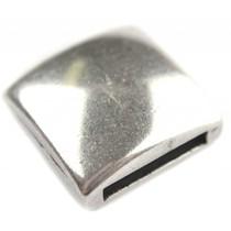 Zilver Leerschuiver vierkant glad Ø13x2.5mm Zilver DQ 18mm