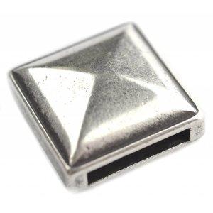 Zilver Leerschuiver piramide Ø13x2.5mm Zilver DQ 18mm