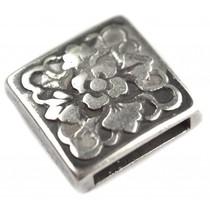 Zilver Leerschuiver vierkant Ø13x2.5mm Zilver DQ 18mm