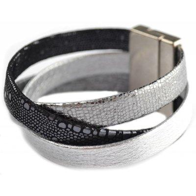 Gevlochten brede leer armband