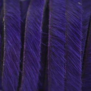 Paars Hairy leer blauw paars 5mm - prijs per cm