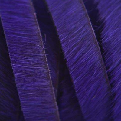 Blauw Hairy leer blauw paars 10mm - prijs per cm