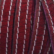 Rood Hairy leer stiksel bordeaux rood 10mm - prijs per cm