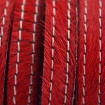Rood Hairy leer stiksel rood 10mm - prijs per cm