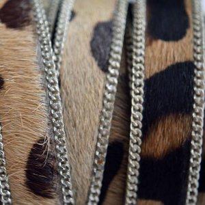 Bruin Hairy leer met ketting panter grof 14mm - prijs per cm