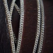 Bruin Hairy leer met ketting donker bruin 14mm - prijs per cm