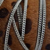 Bruin Hairy leer met ketting dalmatiër donker bruin 14mm - per cm