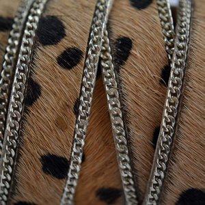 Bruin Hairy leer met ketting dalmatiër licht bruin 14mm - prijs per cm