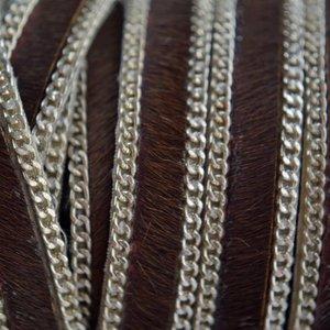 Bruin Hairy leer met ketting donker bruin 10mm - prijs per cm