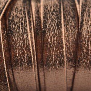 Rosegoud Plat nappa leer koper rosegold 10mm - prijs per cm