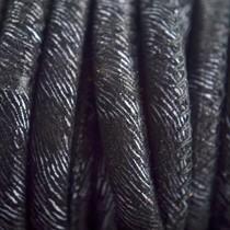 Zwart Stitched leer PQ zwart zilver 6mm - per cm