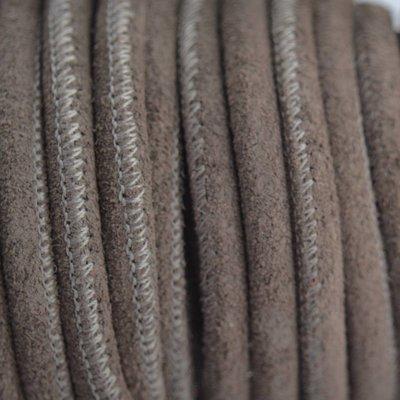 Grijs Stitched leer PQ grijs bruin suede 5mm - per cm