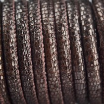 Bruin Stitched leer PQ aubergine bruin metallic 6mm - per cm