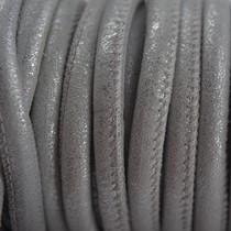 Zilver Stitched leer PQ zilver grijs 6mm - per cm