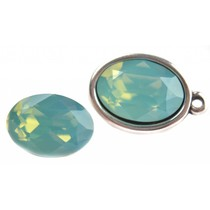 Turquoise Swarovski ovaal 4120 Pacific Opal 14x10mm
