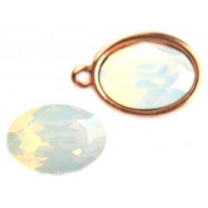 Wit Swarovski ovaal 4120 White Opal 14x10mm