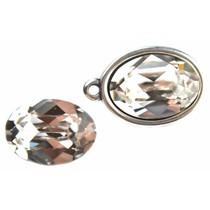 Wit Swarovski ovaal 4120 Crystal 14x10mm